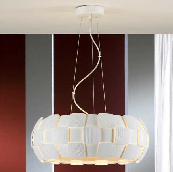Quios Lámpara Colgante 6xE27 LED Blanco roto mate