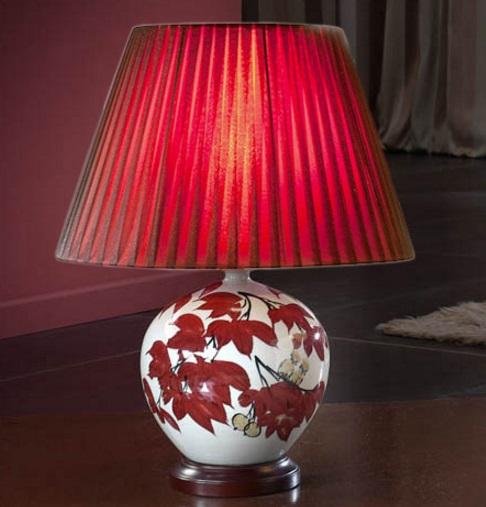Sabina Table Lamp porcelain 1L white/Red + lampshade Plisada