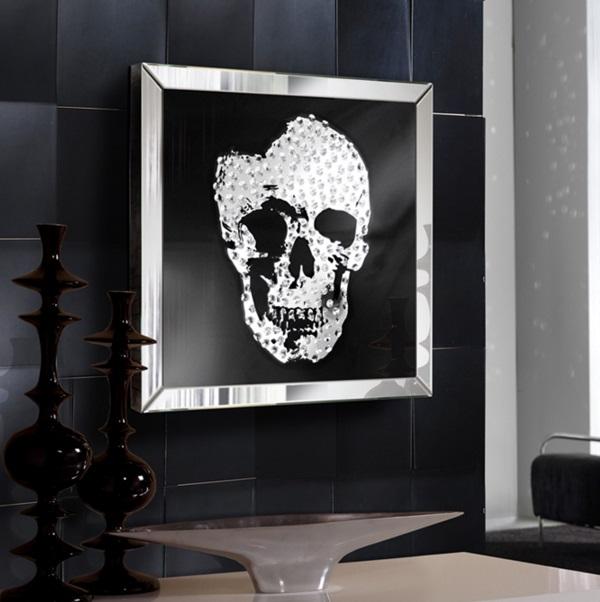 Skull Cuadro espejo 60x60cm Cristal transparente y lacado negro