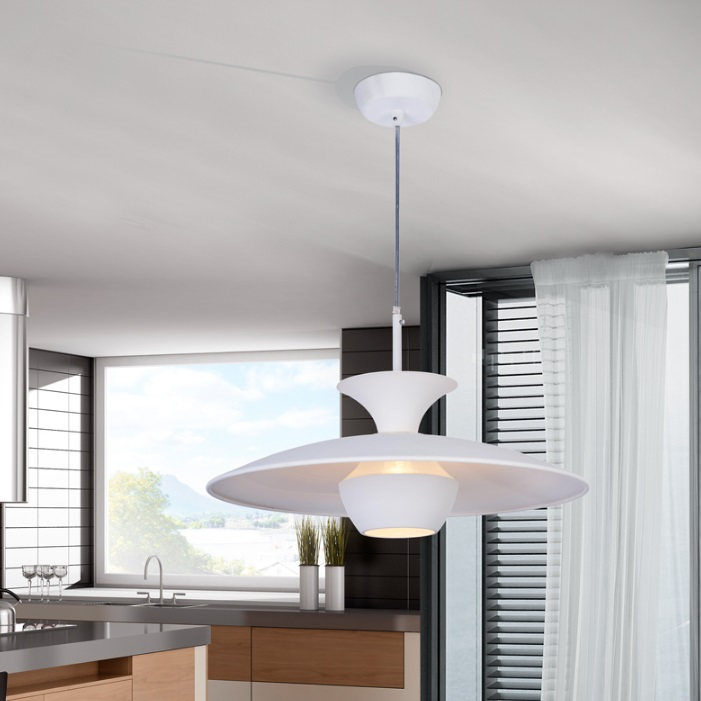 Sunset Lamp Pendant Lamp 25x40cm 1xLED 4w - metal Lacquered en white Satin