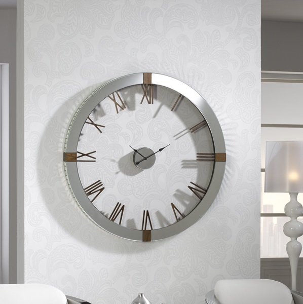 Times Reloj of wall 121x121cm - Mirrors biselados detalles Wood of fresno