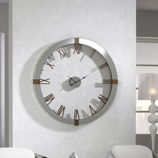 Times Reloj de Pared 121x121cm - espejos biselados detalles Madera de fresno