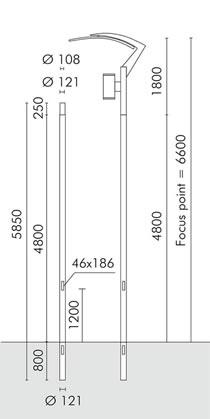 Slot vela Poste cilíndrico ø121mm para empotrar con ø108mm de acoplamiento gris Aluminio