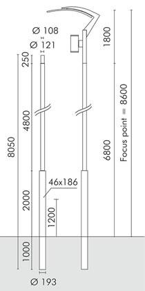 Slot vela ø 193mm ÷ ø121mm Poste cilíndrico para empotrar con ø108mm de acoplamiento