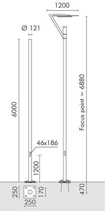 Minislot Avant Garde Poste cylindrical with base ø121mm