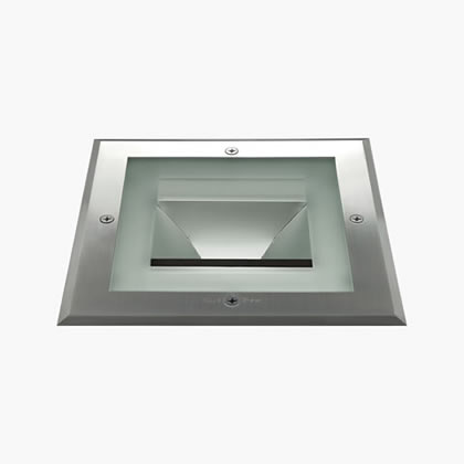 Compact Recessed suelo Square 275mm Hit tc Cri 20w Glass semiacidado Stainless Steel