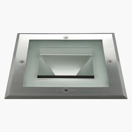 Compact Recessed suelo Square 370mm 16 Accent LED 6000k 24w 230v 7ú Stainless Steel