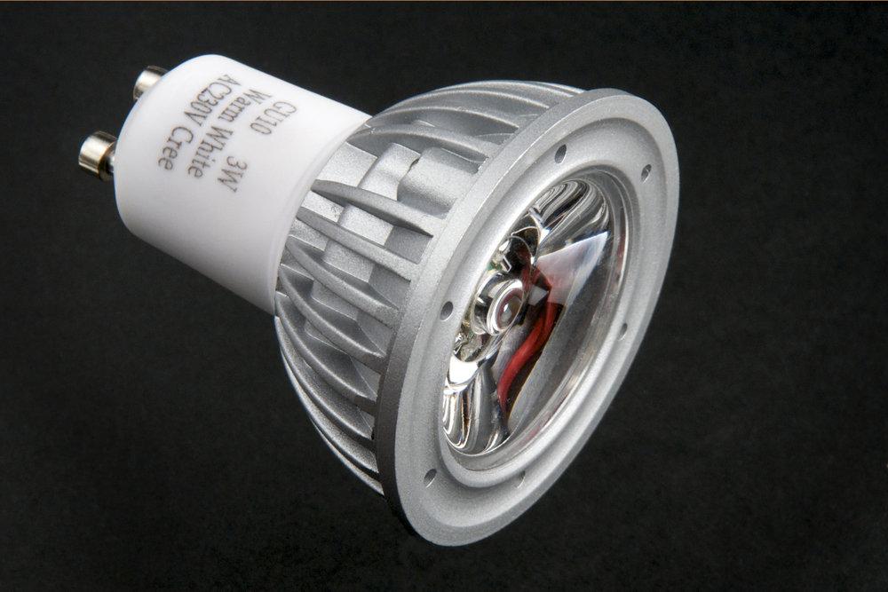 Lámpara LED GU10 dichroic Serie MG Alluminio óptica Trasparente 1x3W