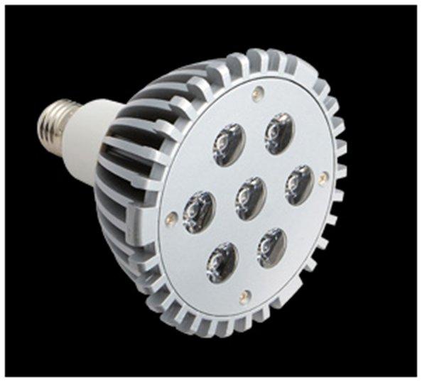 SERIE TG LED Lampadina tipo PAR, corpo Alluminio, óptica Trasparente E27 7x 21W