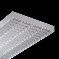 Serie 440 Luminaria adosable G13 T26 4x18W óptica de lamas en V blanca balastro Magnético