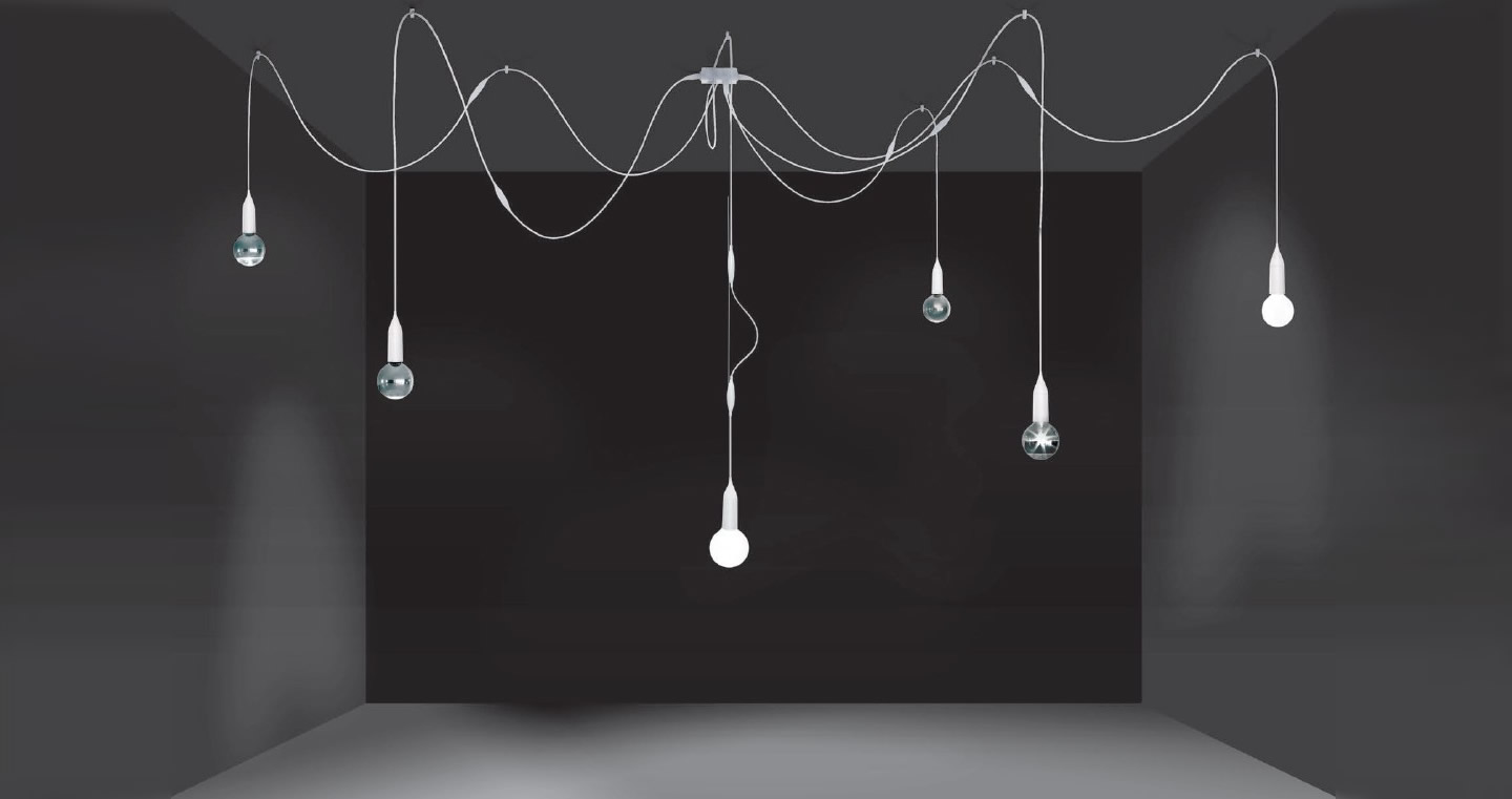 Araña Pendant Lamp altura dimmable dimmable sistema modular Black