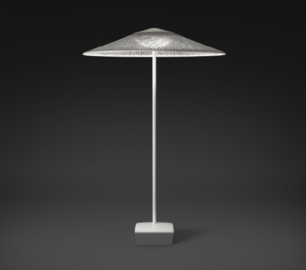 Wind Floor Lamp sombrilla Chrome white