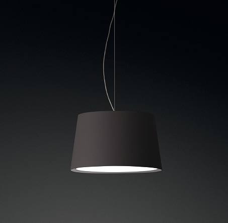 Warm Pendant Lamp Medium lampshade fibra Glass - Lacquered Brown Dark mate