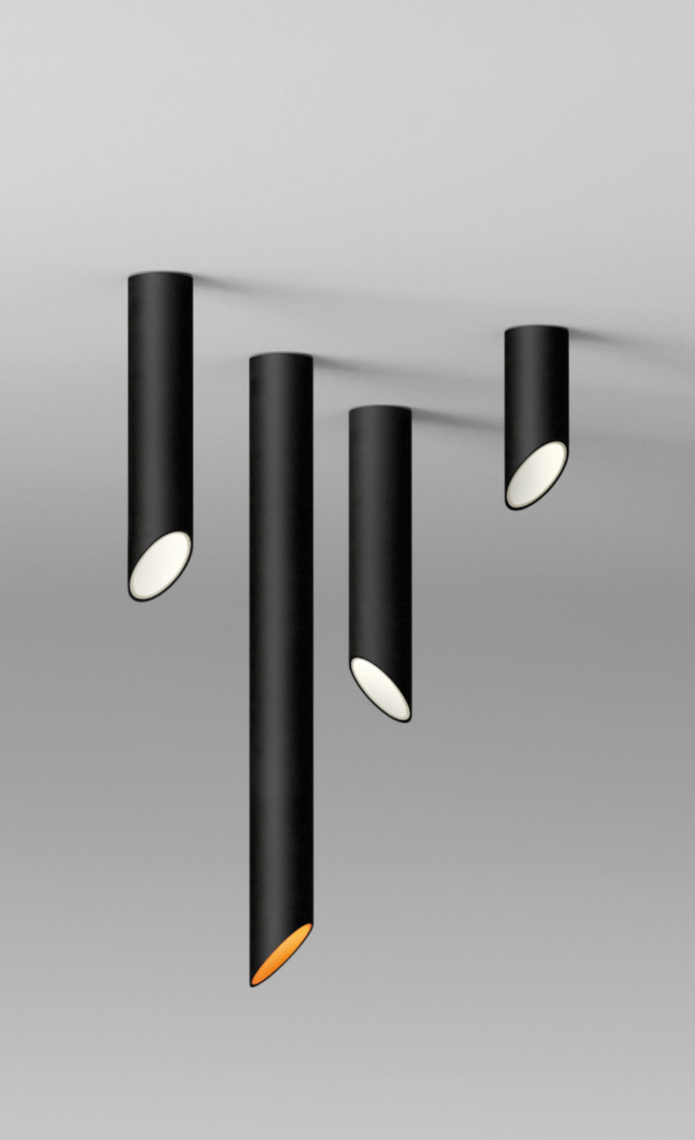 45º Tubo short ceiling lamp - Lacquered black matt