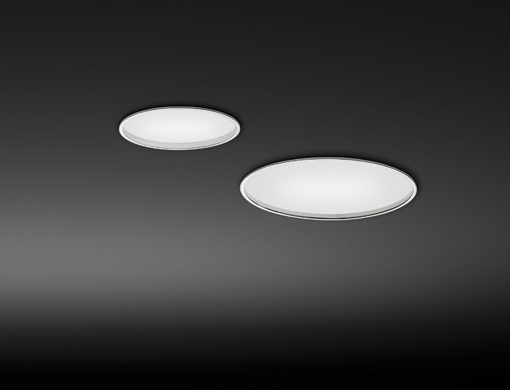 Big ceiling lamp Recessed ø35cm Dimmable 1 x 2GX13 230V 55W (T5C) - Lacquered white matt