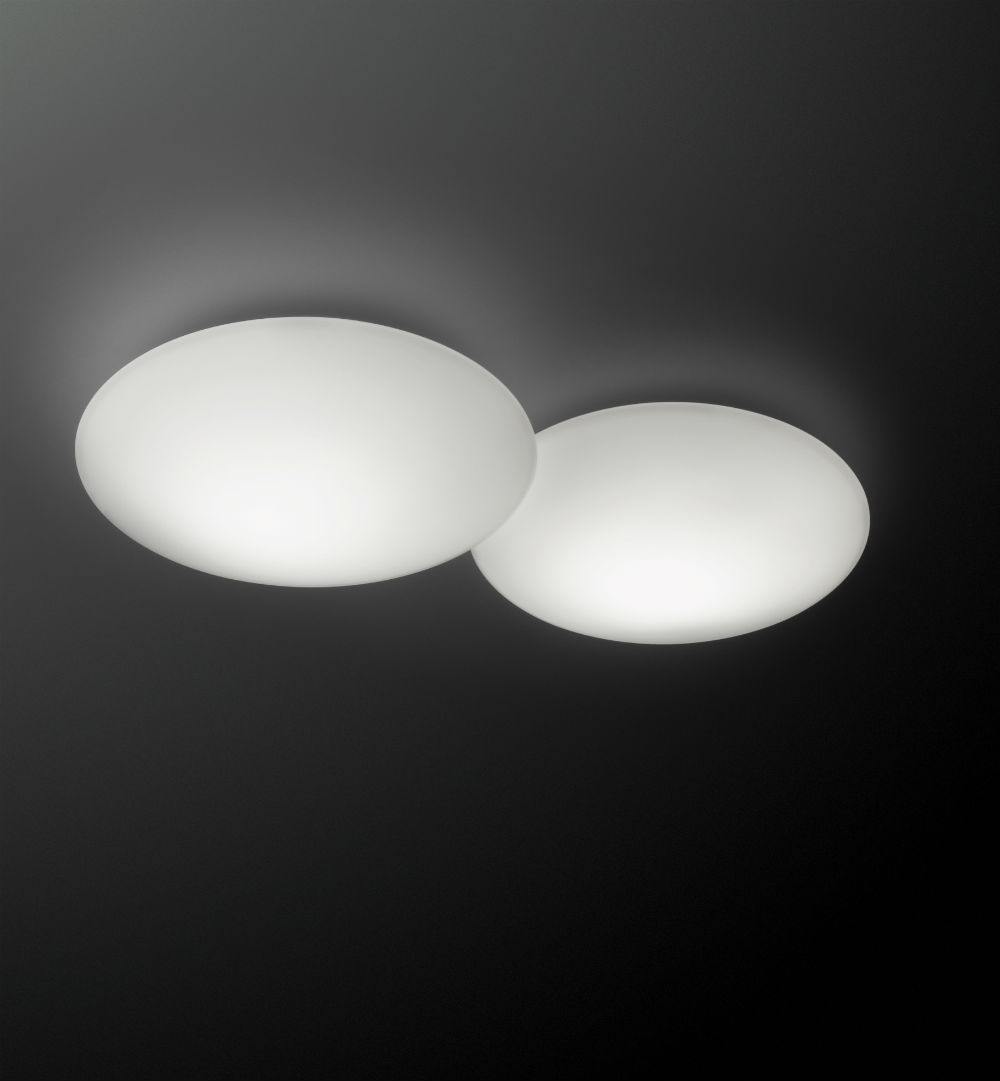 Puck double Ceiling lamp Fluorescent in white