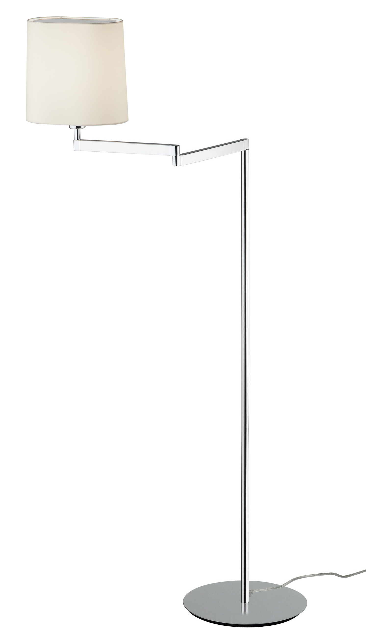 Swing lámpara de Pie pantalla Algodón Cromo