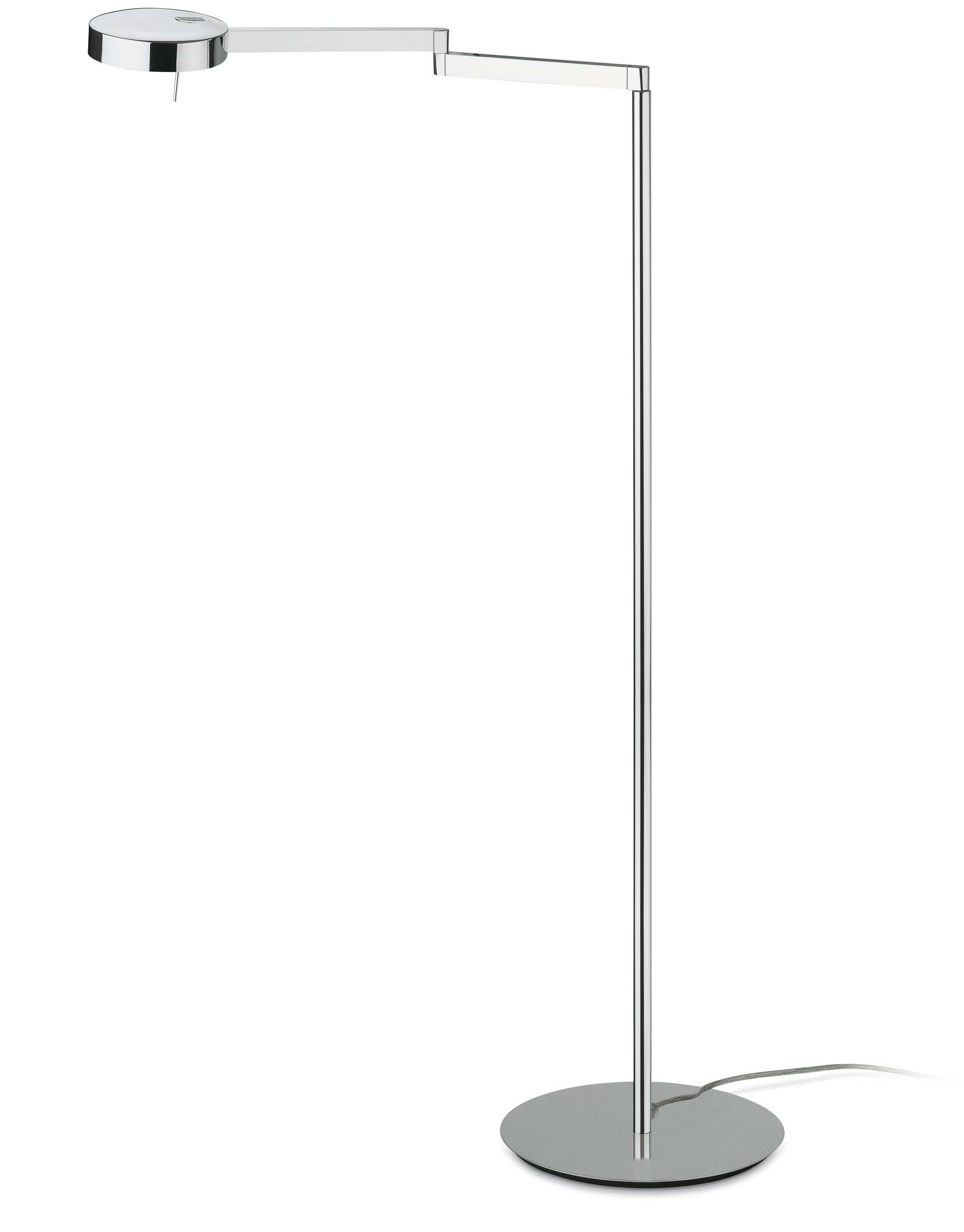 Swing lámpara de Pie pantalla metálica Cromo