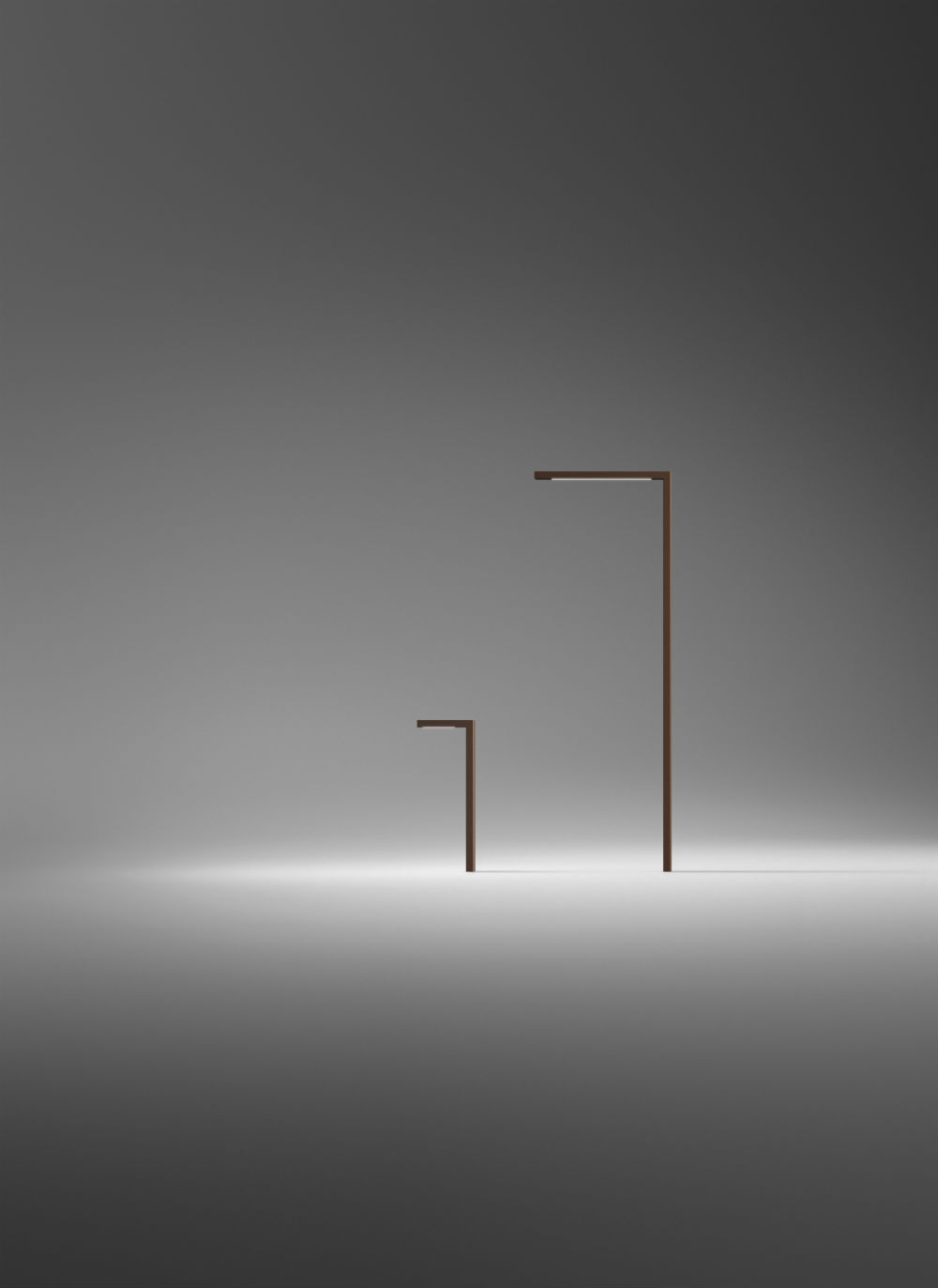 stick high Floor Lamp Angulo Recto 250cm - Lacquered Caqui