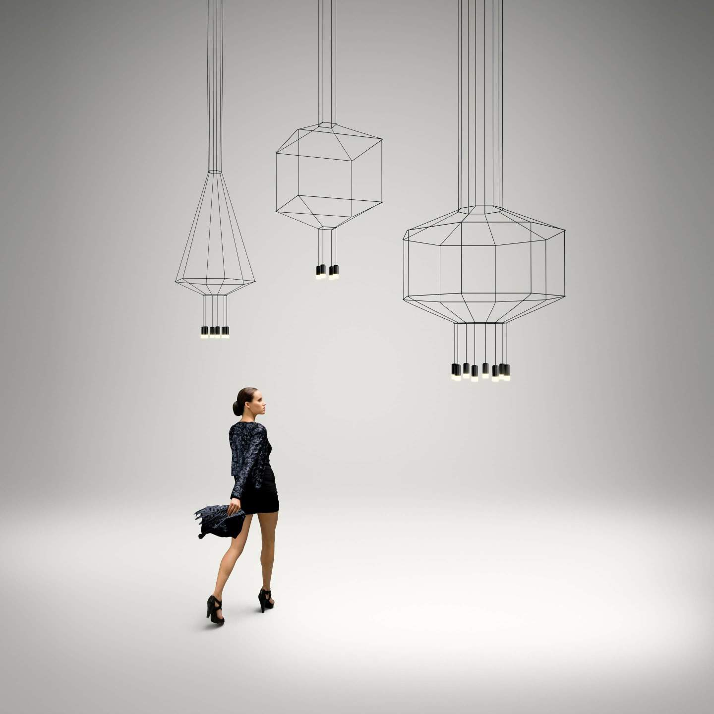 Wireflow Pendant Lamp ø120cm 8xLED 4,5W dimmable (con Diffuser of vidrio) - Lacquered Black