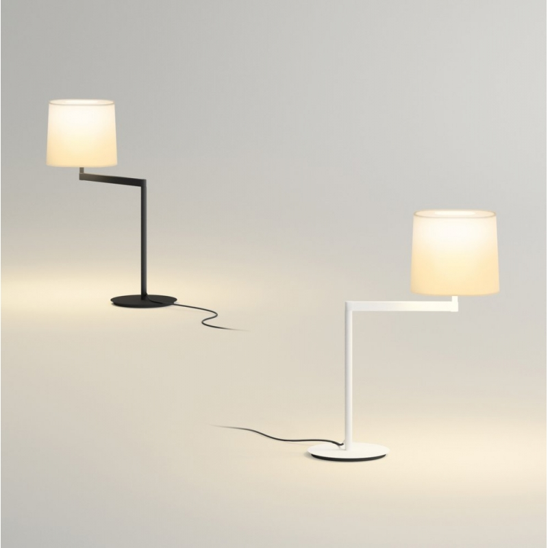 Swing Table Lamp with lampshade Cream - Lacquered white matt