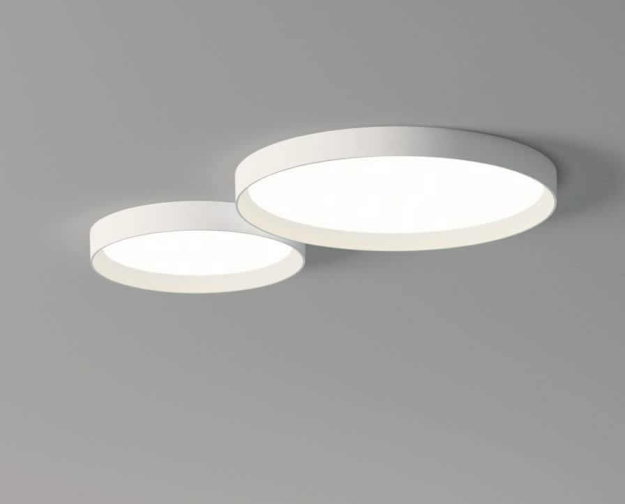Up ceiling lamp Round Doble 2 x plate LED (30w + 43w) - Lacquered white matt