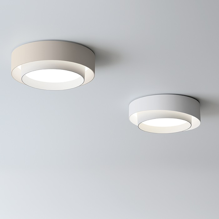 Centric ceiling lamp ø32cm (6cm) 1xLED 15,2W + 2xLED 4W dimmable - Lacquered Cream mate