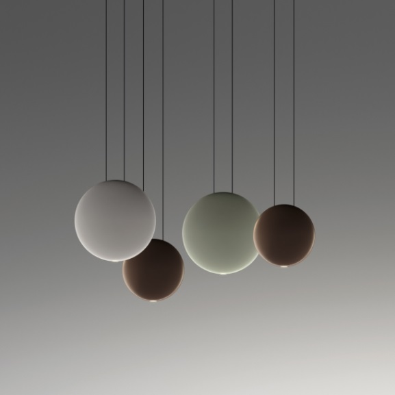 Cosmos Pendant Lamp Cluster 4 satélites - Lacquered Green mate, Grey claro Matt and Brown Dark mate