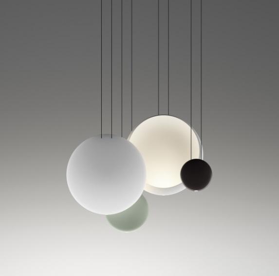 Cosmos Pendant Lamp Cluster 4 combinación - Lacquered Grey claro mate, white Matt and Brown Dark mate