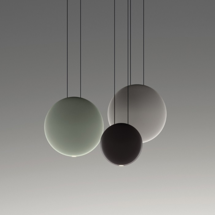 Cosmos Pendant Lamp Cluster 3 satélites - Lacquered Green mate, Brown Dark Matt and Grey claro mate