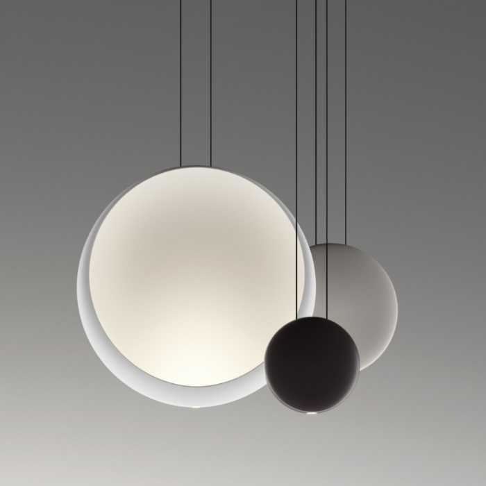 Cosmos Pendant Lamp Cluster 3 combinación - Lacquered Grey claro mate, white Matt and Brown Dark mate