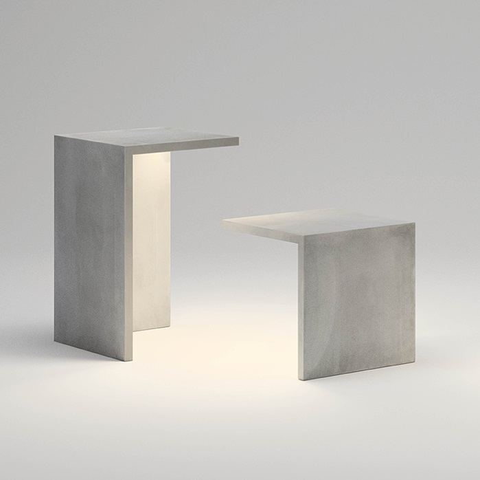 Empty table 45x45x70 tira LED 2x8,6w - beton polímero Grey