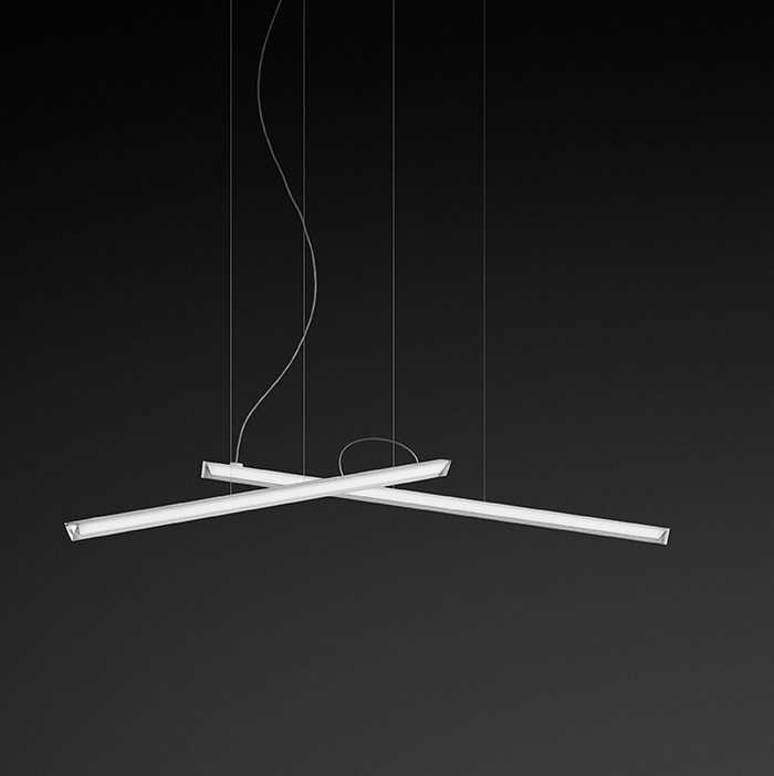 Halo Pendant Lamp linear 2 Pendant Lamps LED - Lacquered white Mate