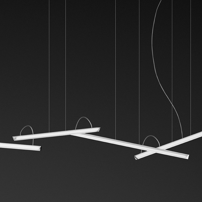 Halo Pendant Lamp linear 6 Pendant Lamps LED - Lacquered white Mate