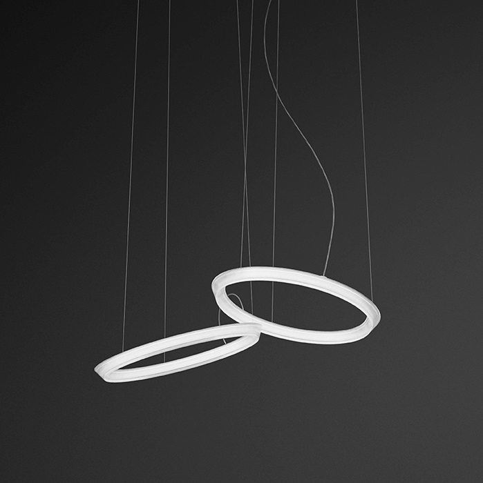 Halo Pendant Lamp circular 2 Pendant Lamps LED - Lacquered white Mate