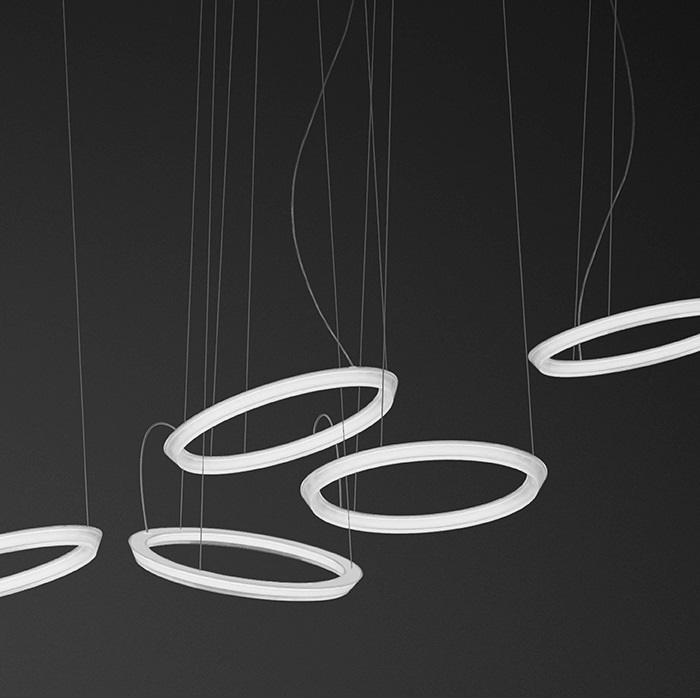 Halo Pendant Lamp circular 5 Pendant Lamps LED - Lacquered white Mate