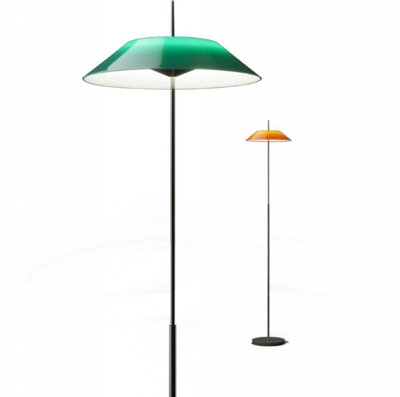 Mayfair Floor Lamp 147cm 1xLED 2,4W + 1xLED 16,8W dimmable lampshade of methacrylate - Nickel Black Shiny and Green