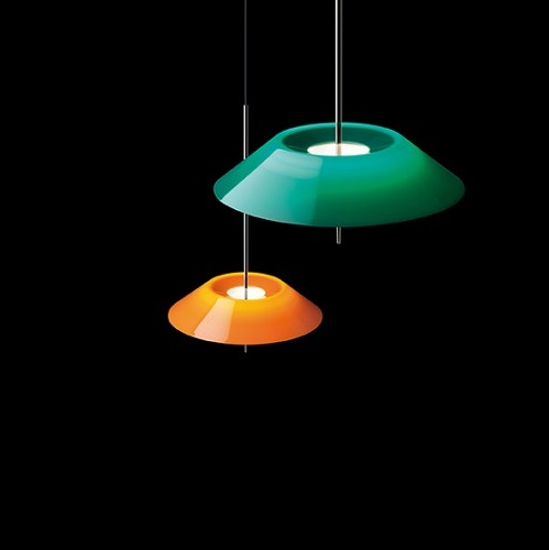 Mayfair Pendant Lamp ø52cm 1xLED 2,4W + 1xLED 16,8W dimmable lampshade of methacrylate - Nickel Black Shiny and Green