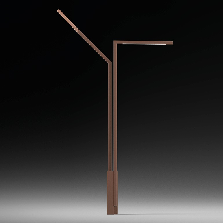 stick high Floor Lamp Arbol Doble 335cm - Lacquered Oxido Mate