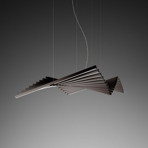 Rhythm Pendant Lamp horizontal 20 Stickers Cortos - Lacquered Brown Dark Mate