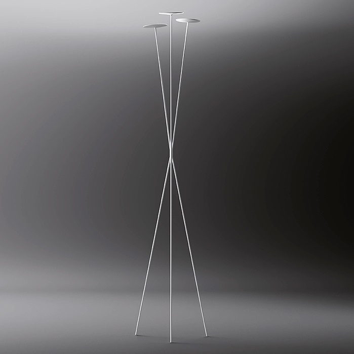 Skan Floor Lamp Copa triple 198cm - Lacquered white Mate