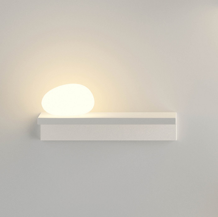 Suite Wall Lamp with Diffuser of Glass left - Lacquered white Mate