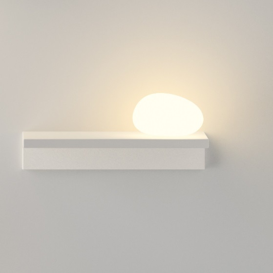 Suite Wall Lamp with Diffuser of Glass right - Lacquered Brown ocuro mate