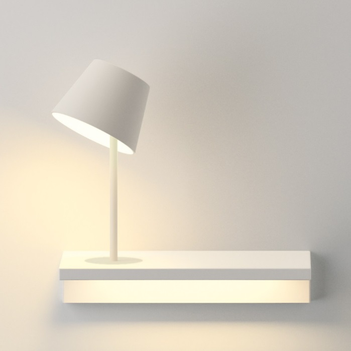 Suite Wall Lamp with light of Reading left - Lacquered white Mate