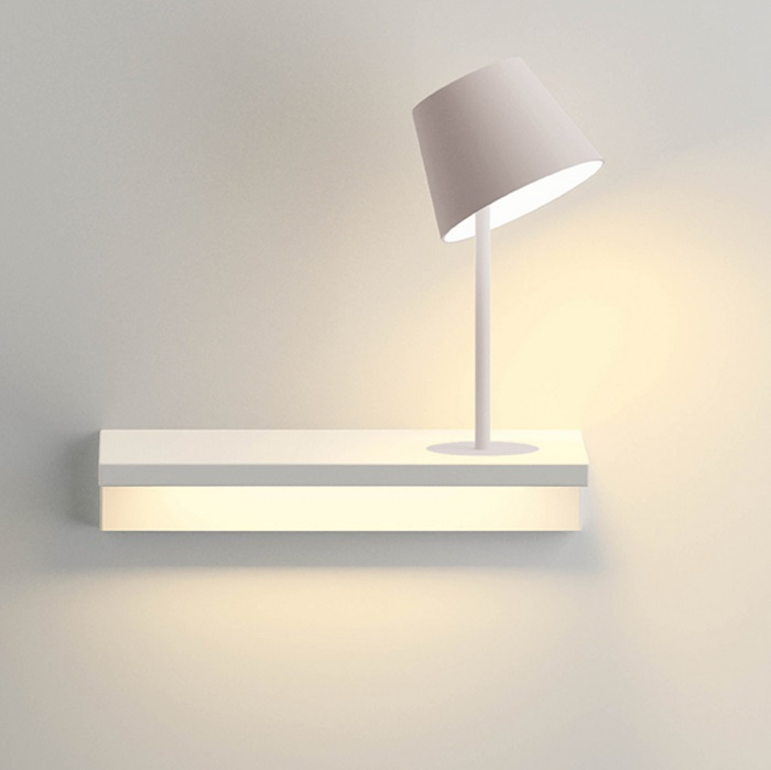 Suite Wall Lamp with light of Reading right - Lacquered white Mate