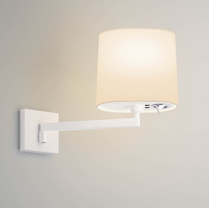 Swing Wall Lamp with lampshade Cream + light LED Reading - Lacquered white matt