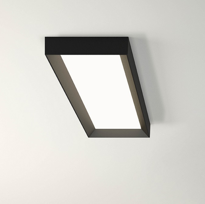 Up ceiling lamp rectangular 1 x plate LED 50w - Lacquered Graphite mate