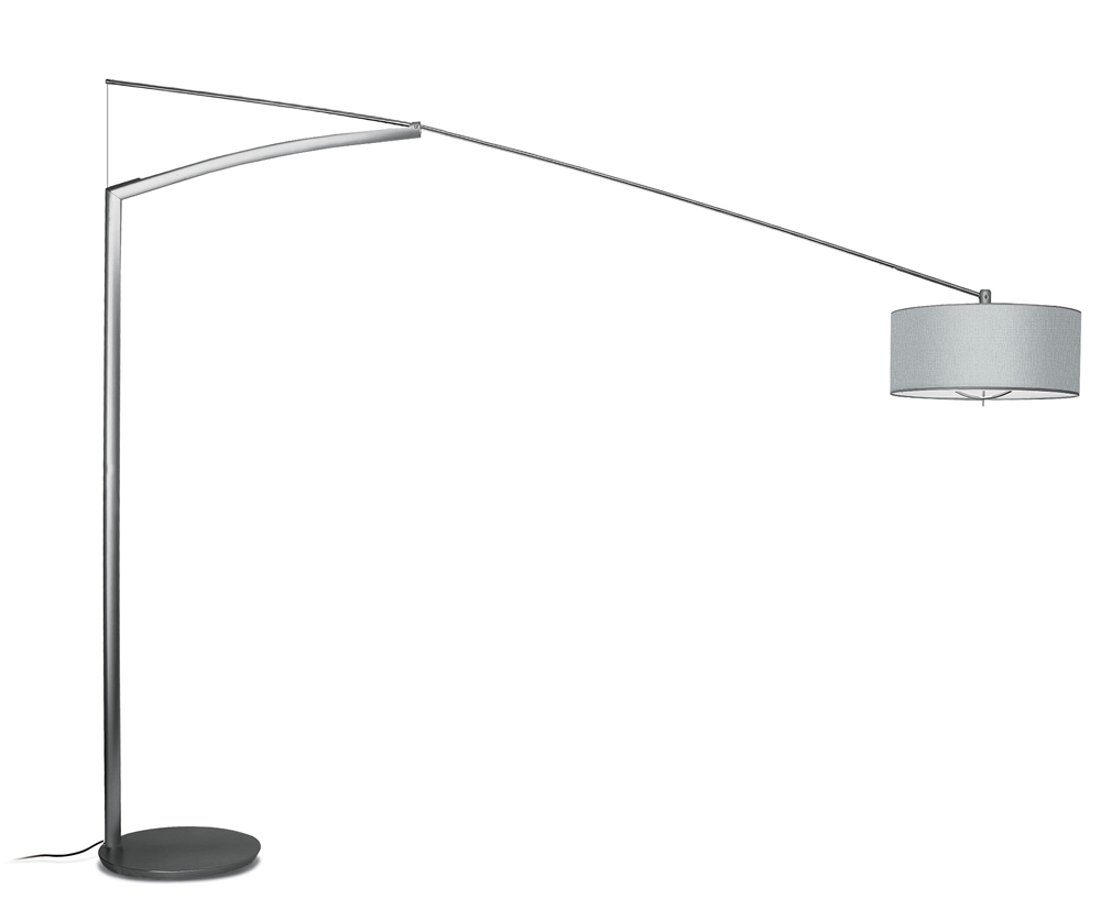 Balance Floor Lamp with arm long Diffuser Aluminium Lacquered Silver