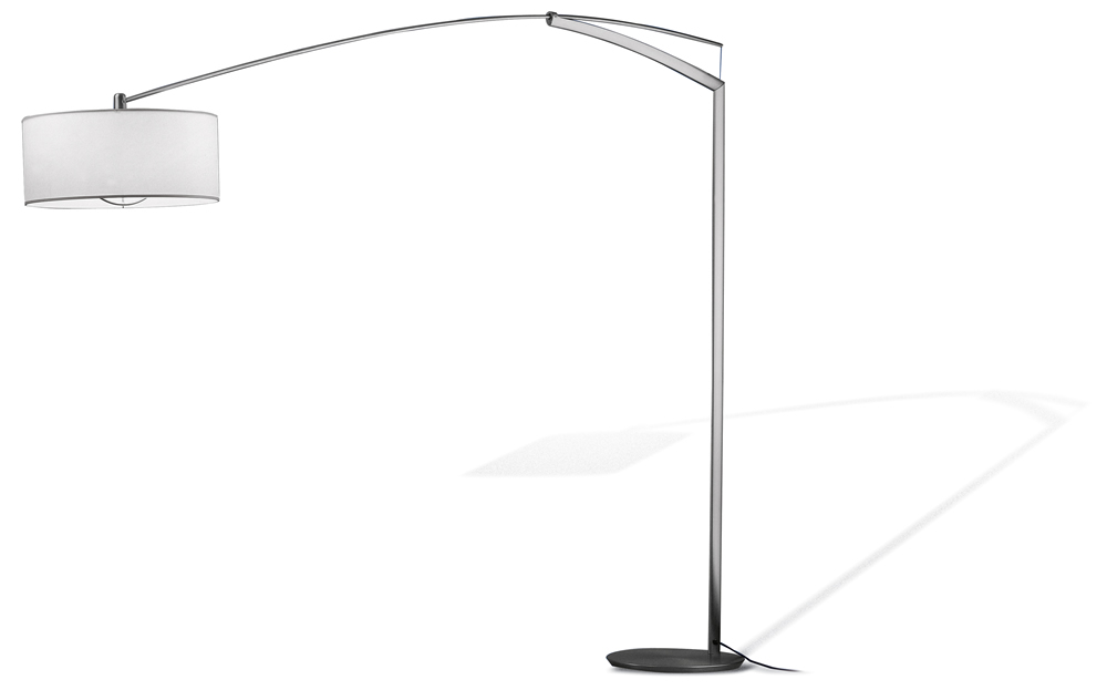 Balance Floor Lamp with arm short Diffuser cotton Lacquered Silver