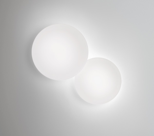 Puck double Wall lamp Fluorescent in white
